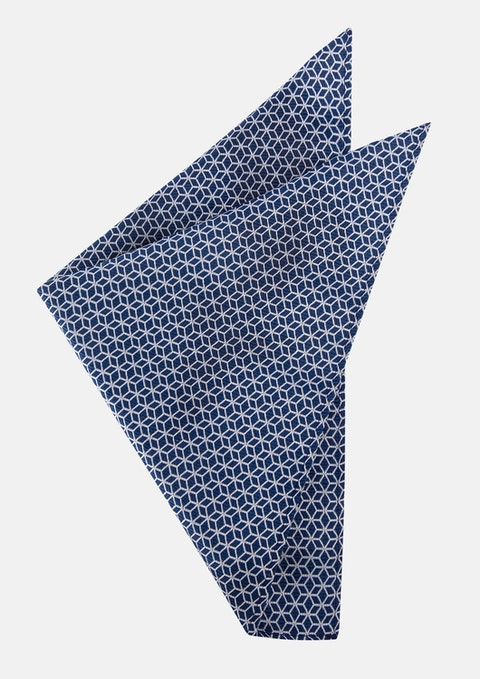 Dark Blue Garrett Geo Pocket Square