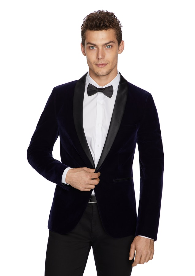 navy casino velvet jacket groom wear attire wedding suit