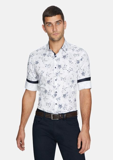 White Parker Paisley Slim Shirt