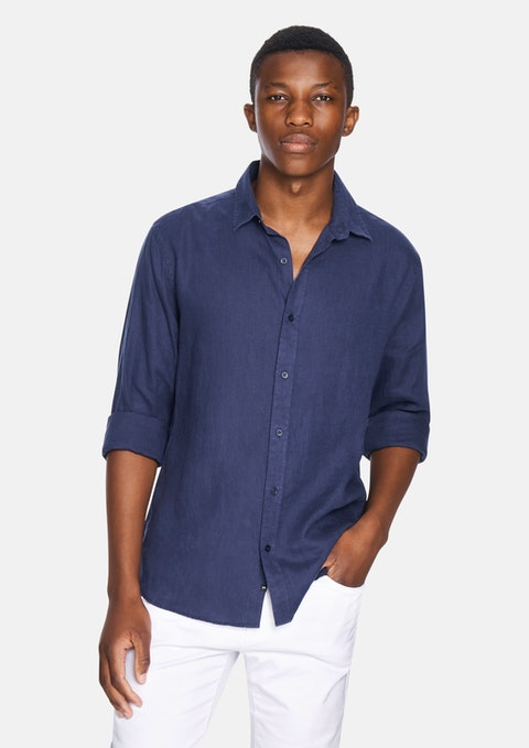 Dark Blue New England Linen Blend Shirt