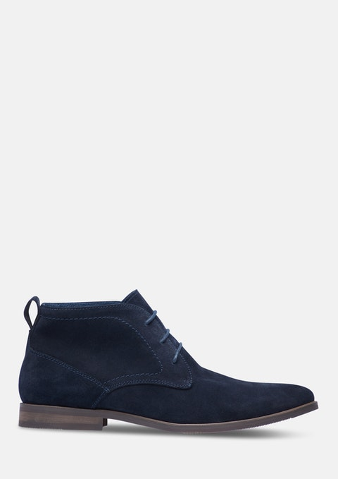 Dark Blue Sahara Suede Boot