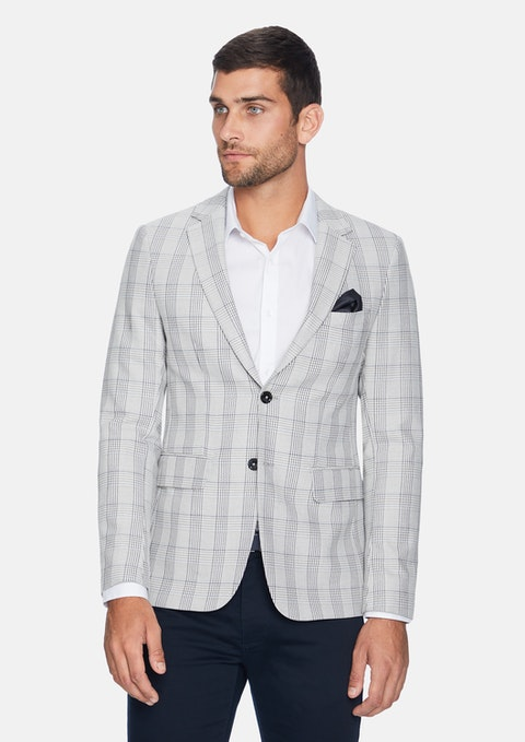 Natural Emilio Check Blazer