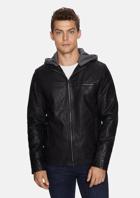 Black Hooded Cassan Biker Jacket
