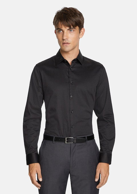 Black Levin Slim Dress Shirt