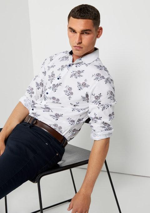 White Brendan Floral Slim Shirt