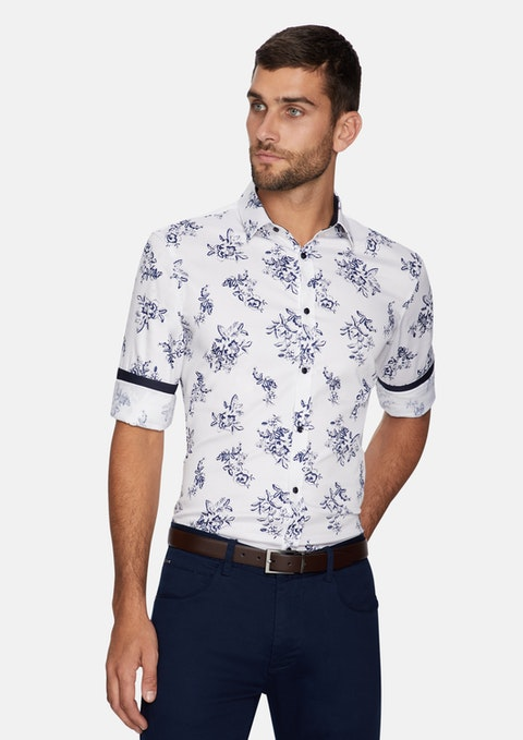 Dark Blue Woking Floral Slim Shirt