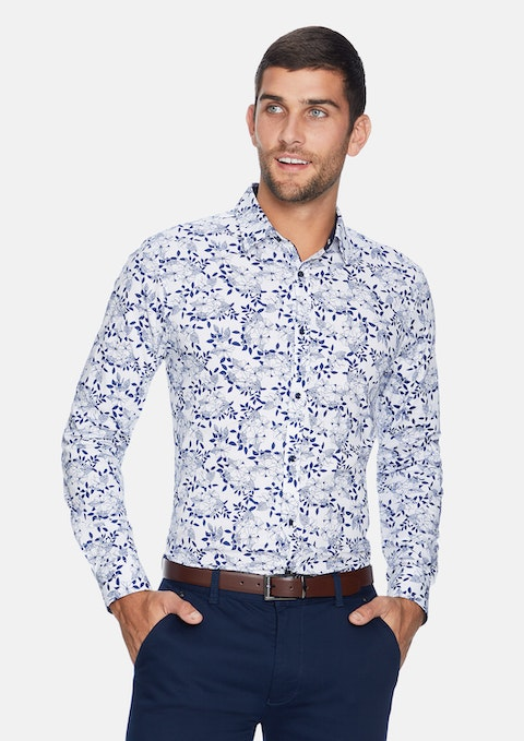 Dark Blue Basingstoke Floral Slim Shirt