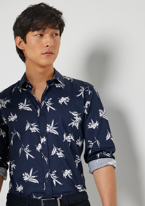 Dark Blue Brighton Floral Slim Shirt