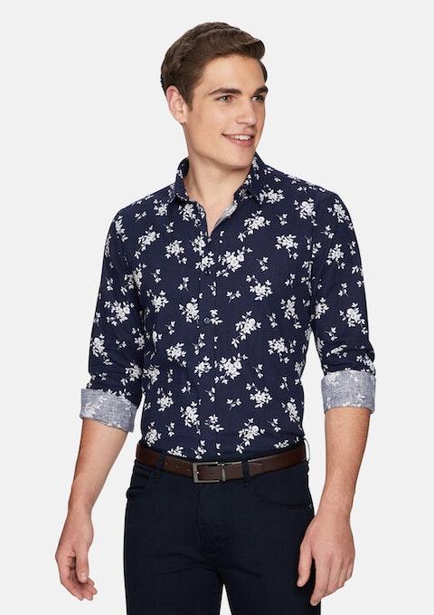 Dark Blue Bermondsey Floral Linen Shirt