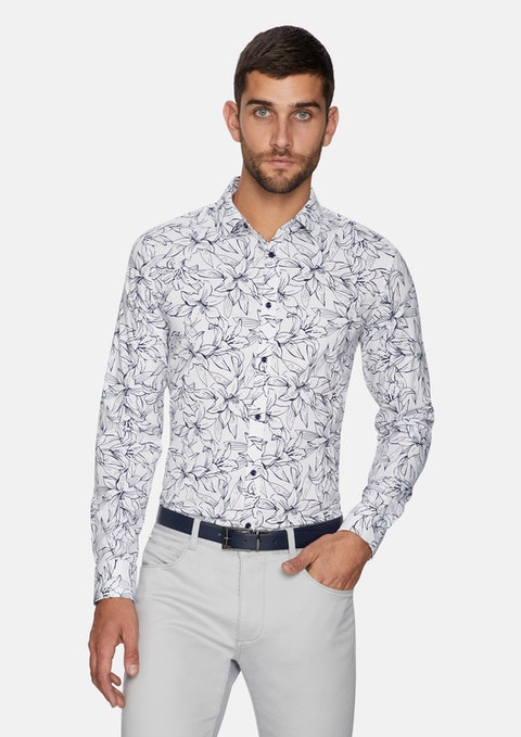 White Trevi Floral Slim Shirt
