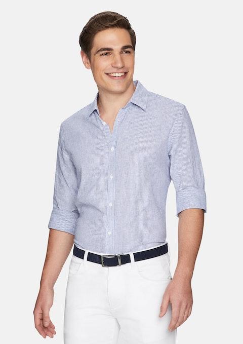 Light Blue Sebastian Stripe Linen Shirt