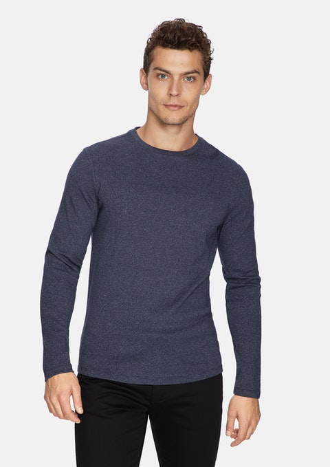 Navy Arnold Muscle Fit Jumper