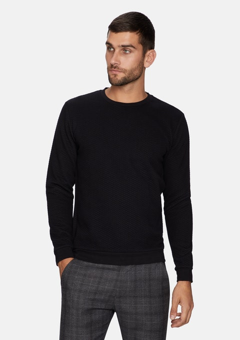 Black Tech Textured Jumper
