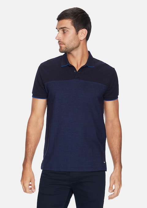 Navy Fashion Spliced Polo