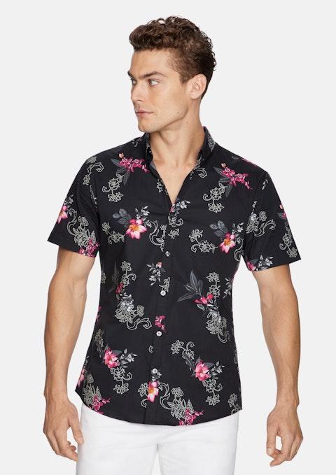 Black Event Floral Shirt