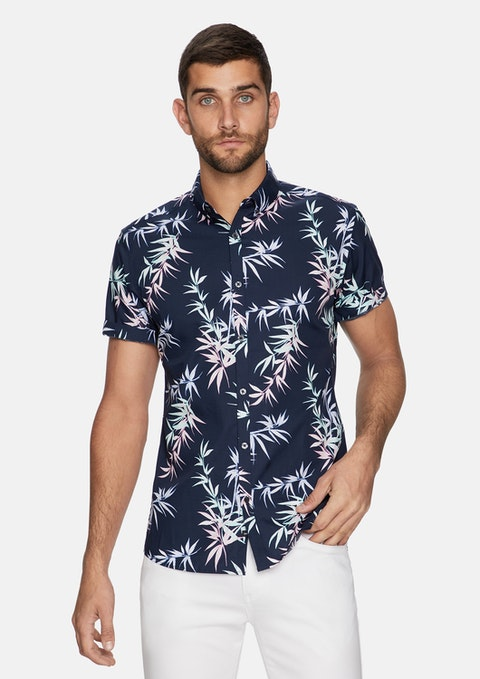 Navy Harbor Printed Shirt