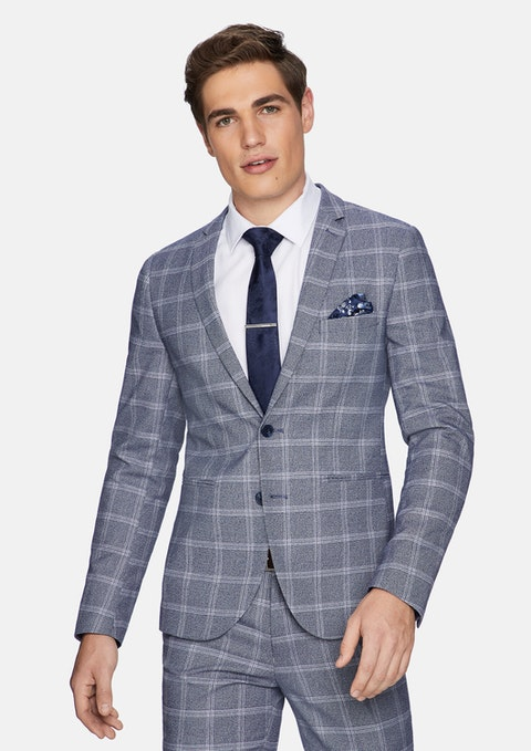 Blue Elton Skinny Check Suit Jacket