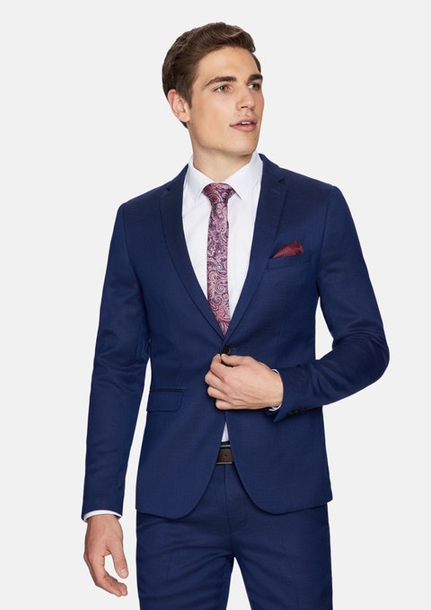 Dark Blue Firebird Skinny Textured Suit Jacket
