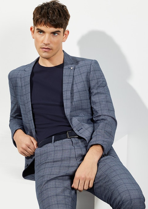 Blue Lotus Slim Check Suit Jacket