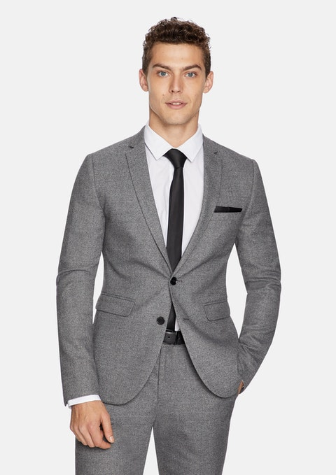Pewter Cadillac Skinny Textured Suit Jacket