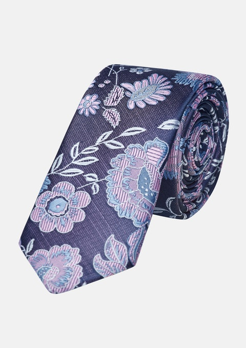 Blue/pink Drew Floral 5cm Tie