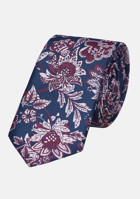 Navy/red Nathan Floral 6.5cm Tie