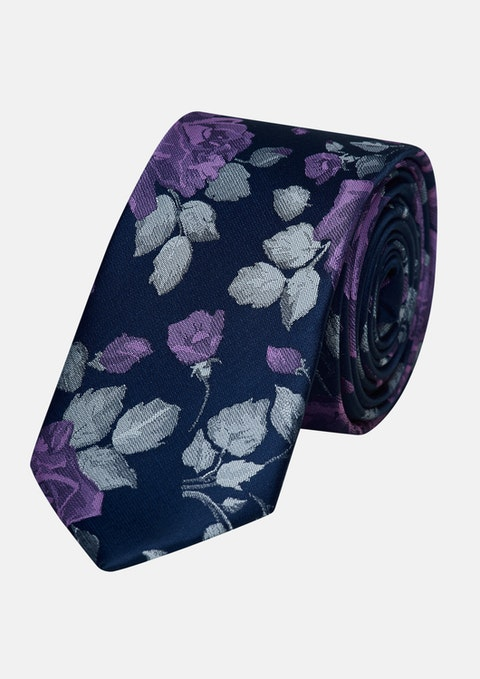 Dark Blue Jimmy Floral 6.5cm Tie
