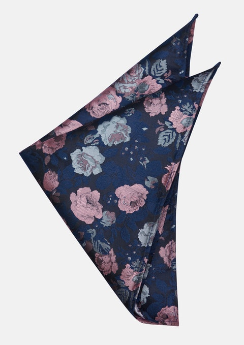 Dark Blue Alec Floral Pocket Square