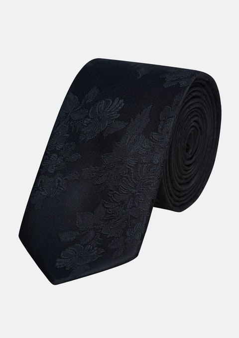 Black Elliot Tonal Floral 6.5cm Tie