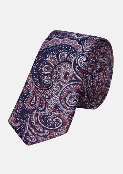 Dark Blue/pink David Paisley 5cm Tie