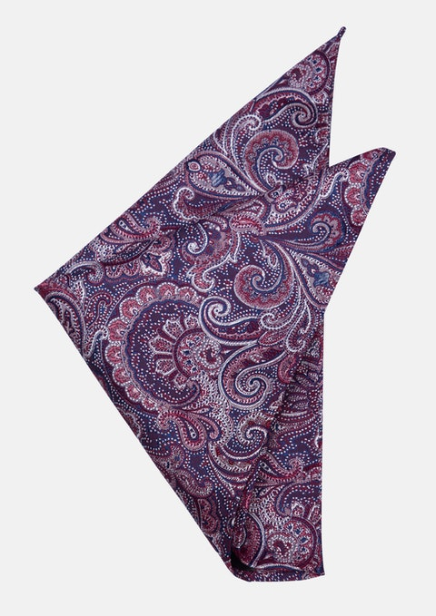 Dark Blue/pink David Paisley Pocket Square