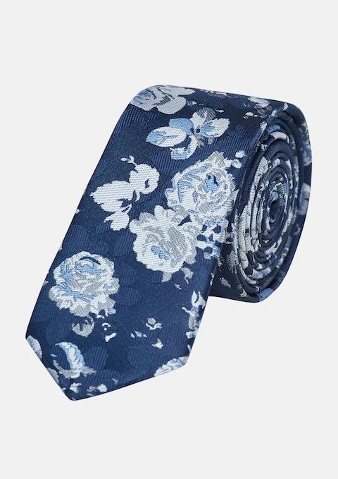 Dark Blue Hal Floral 5cm Tie