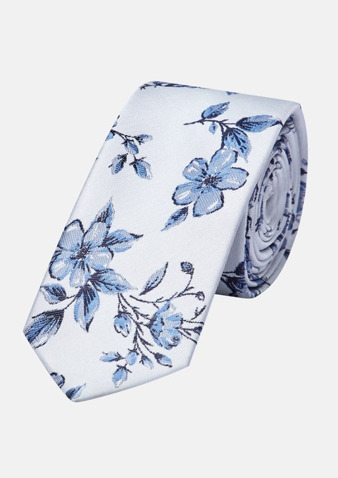 Grey/blue Flemington Floral 6.5cm Tie