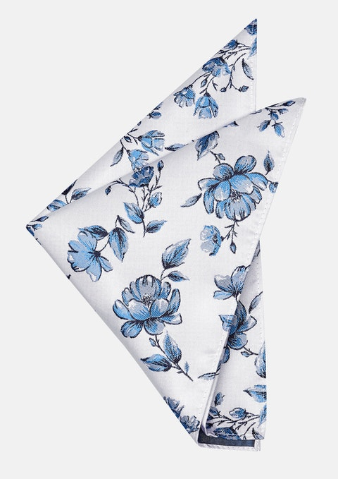 Grey/blue Flemington Floral Pocket Square