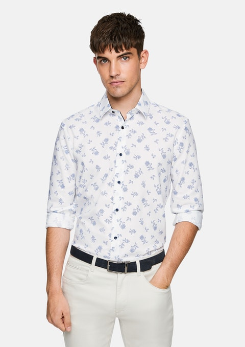 White Spring Floral Shirt