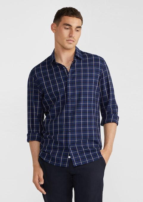 Dark Blue Jarrod Viscose Check Shirt