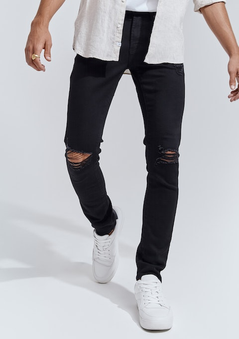 Black Slash Ripped  Skinny Jean
