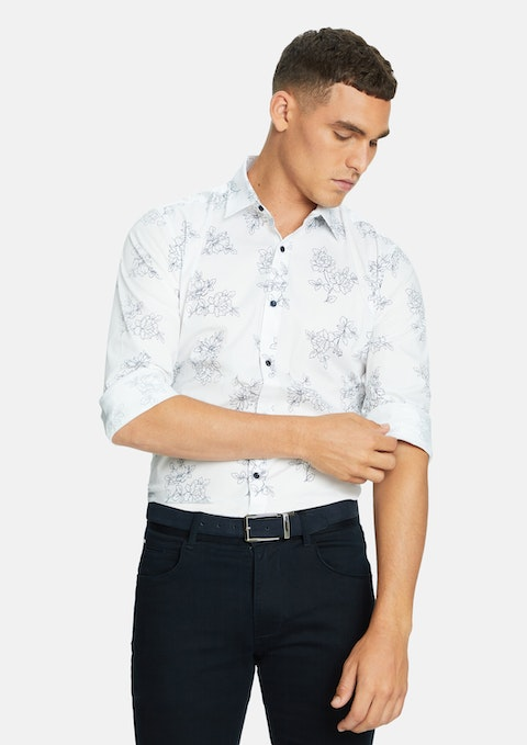 White Kyle Floral Slim  Shirt