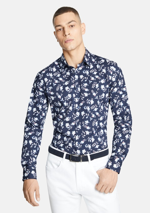 Navy Zayn Floral Slim  Shirt