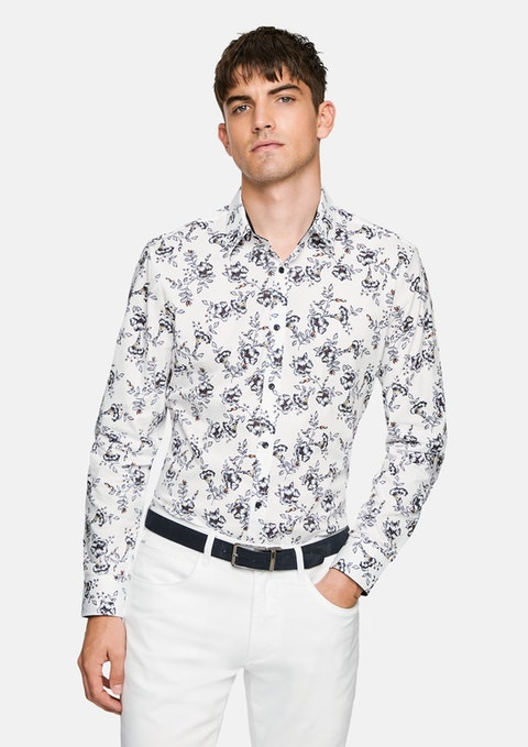 White Kade Floral Slim Shirt
