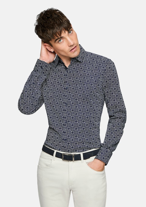 Dark Blue Derik Geo Slim  Shirt