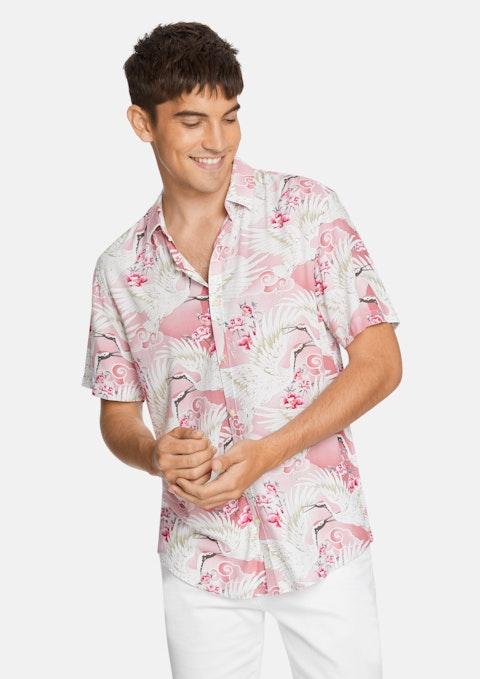 Pink Phoenix Bird Print Shirt