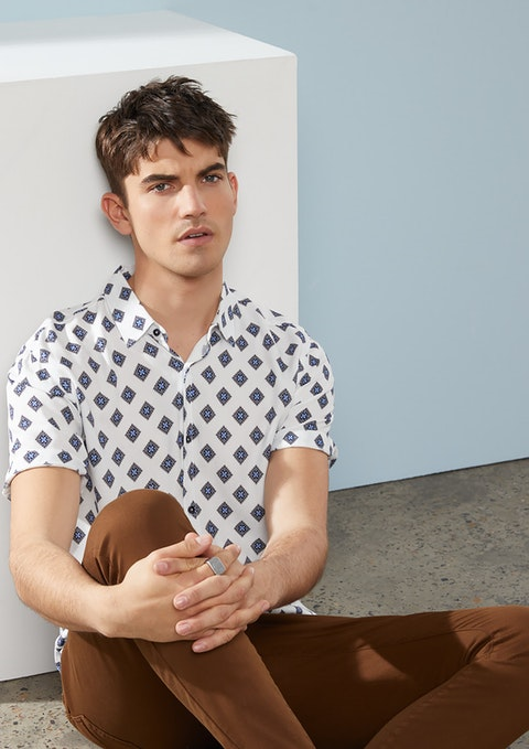 White Tobias Geo Shirt