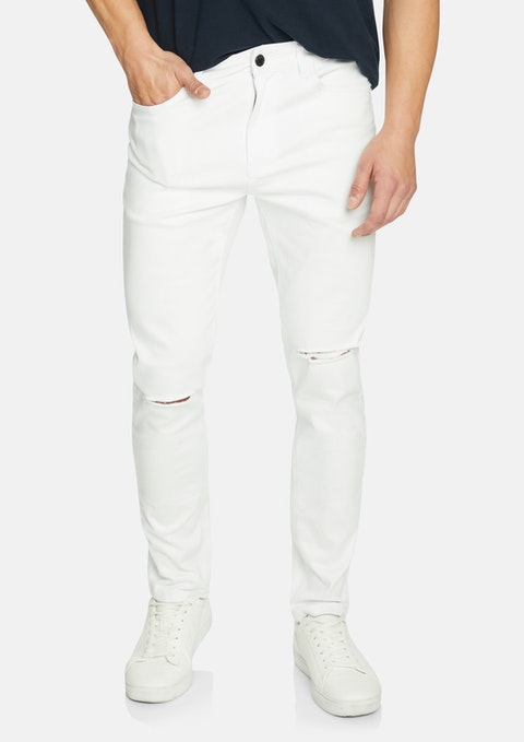 White Blanco Ripped Slim Tapered Jean