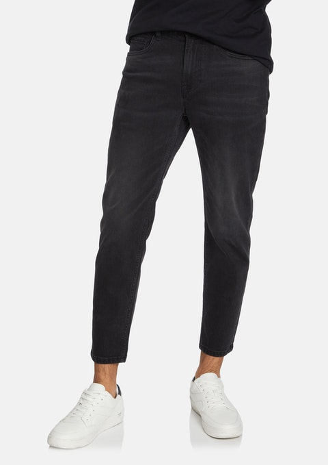 Washed Black Hy-rolla Cropped Jean