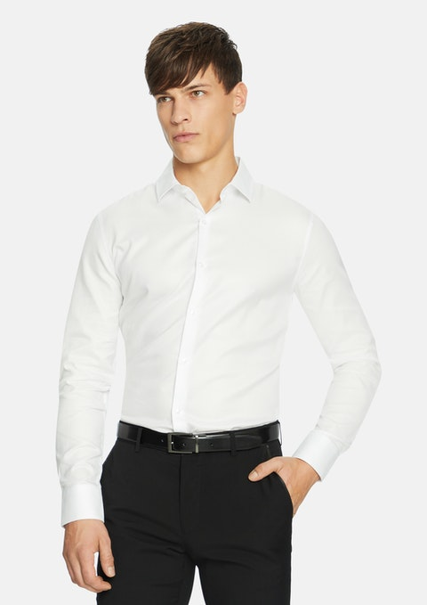 White Astoria Textured  Slim Dress Shirt