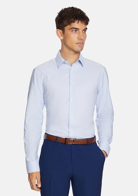 Sky Blue Marcello Stretch  Slim Dress Shirt