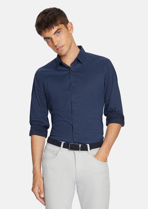 Dark Blue Jakob Micro Print Shirt