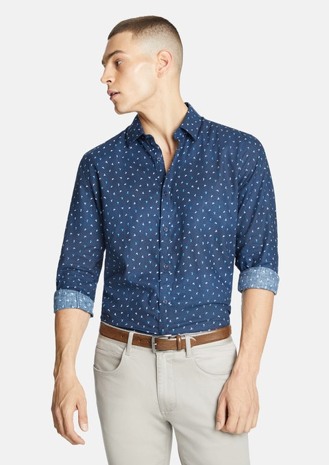 Navy Fashion Linen  Shirt