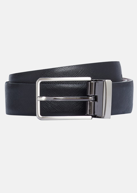 Black Vasily Textured Reversible Belt